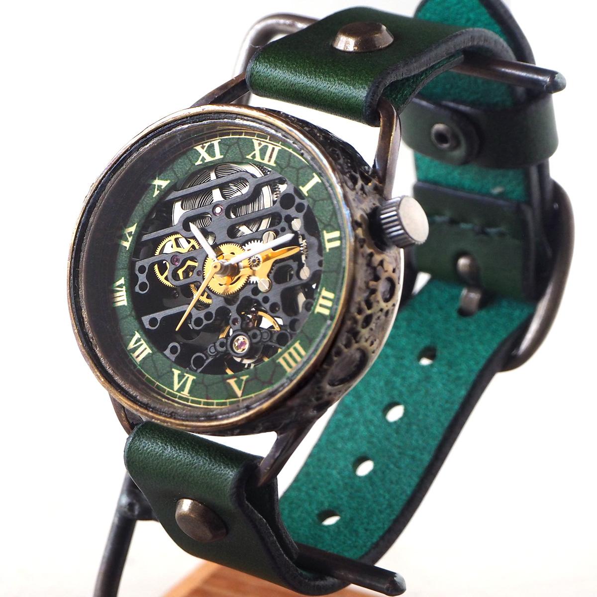 KINO(キノ) 手作り腕時計 自動巻き 裏スケルトン メカニックブラック グリーン [K-15-MBK-GR]