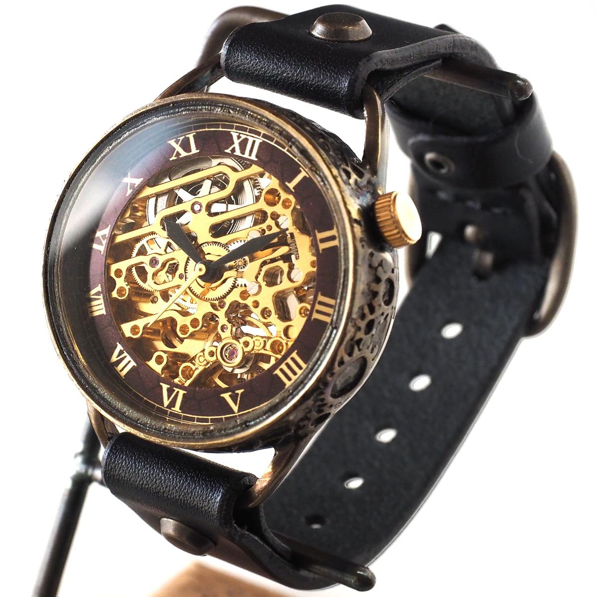 KINO(キノ) 手作り腕時計 自動巻き 裏スケルトン メカニックゴールド ブラック [K-15-MGD-BK]