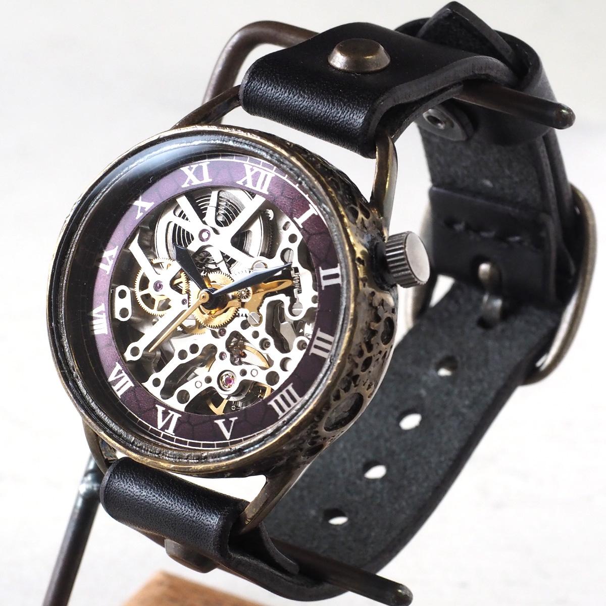 KINO(キノ) 手作り腕時計 自動巻き 裏スケルトン メカニックシルバー ブラック