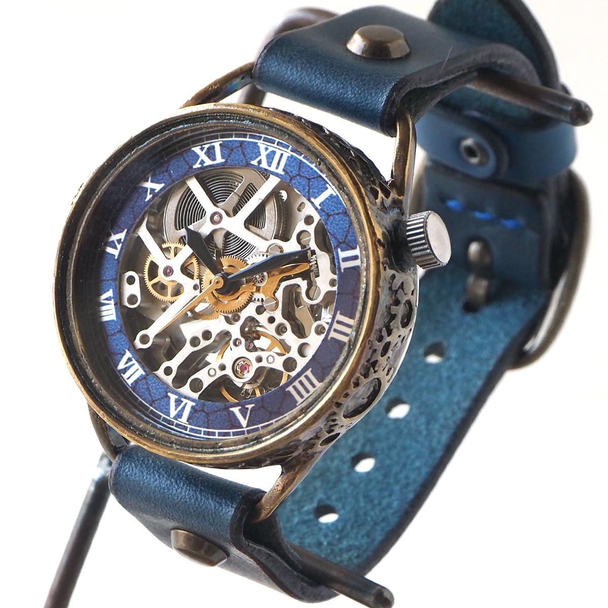KINO(キノ) 手作り腕時計 自動巻き 裏スケルトン メカニックシルバー ブルー [K-15-MSV-BL]