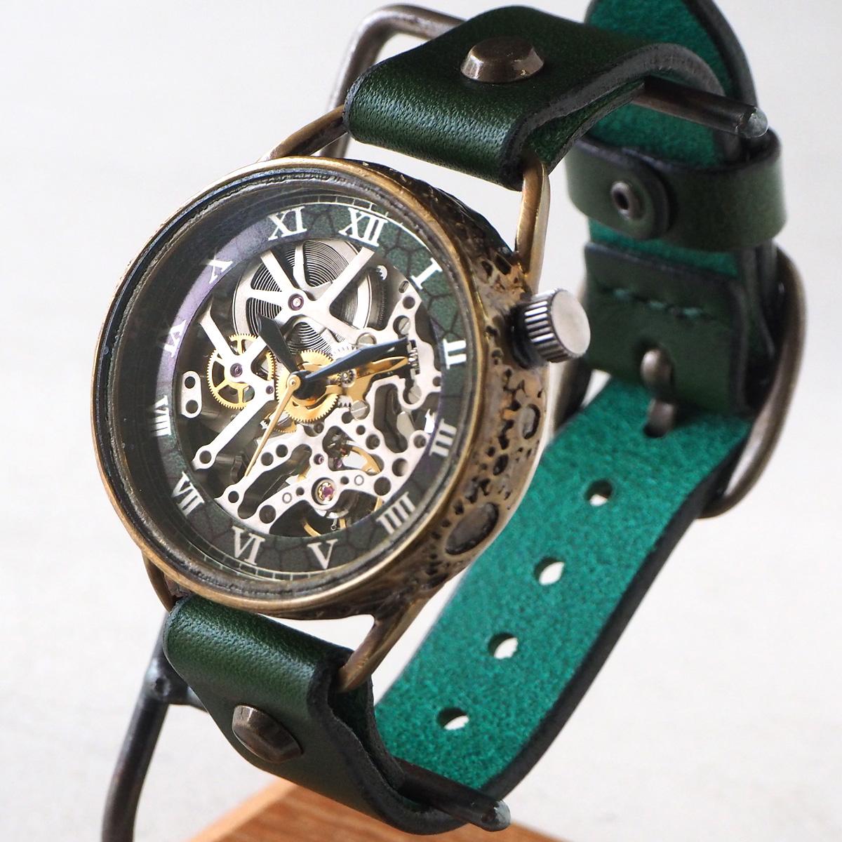 KINO(キノ) 手作り腕時計 自動巻き 裏スケルトン メカニックシルバー グリーン [K-15-MSV-GR]