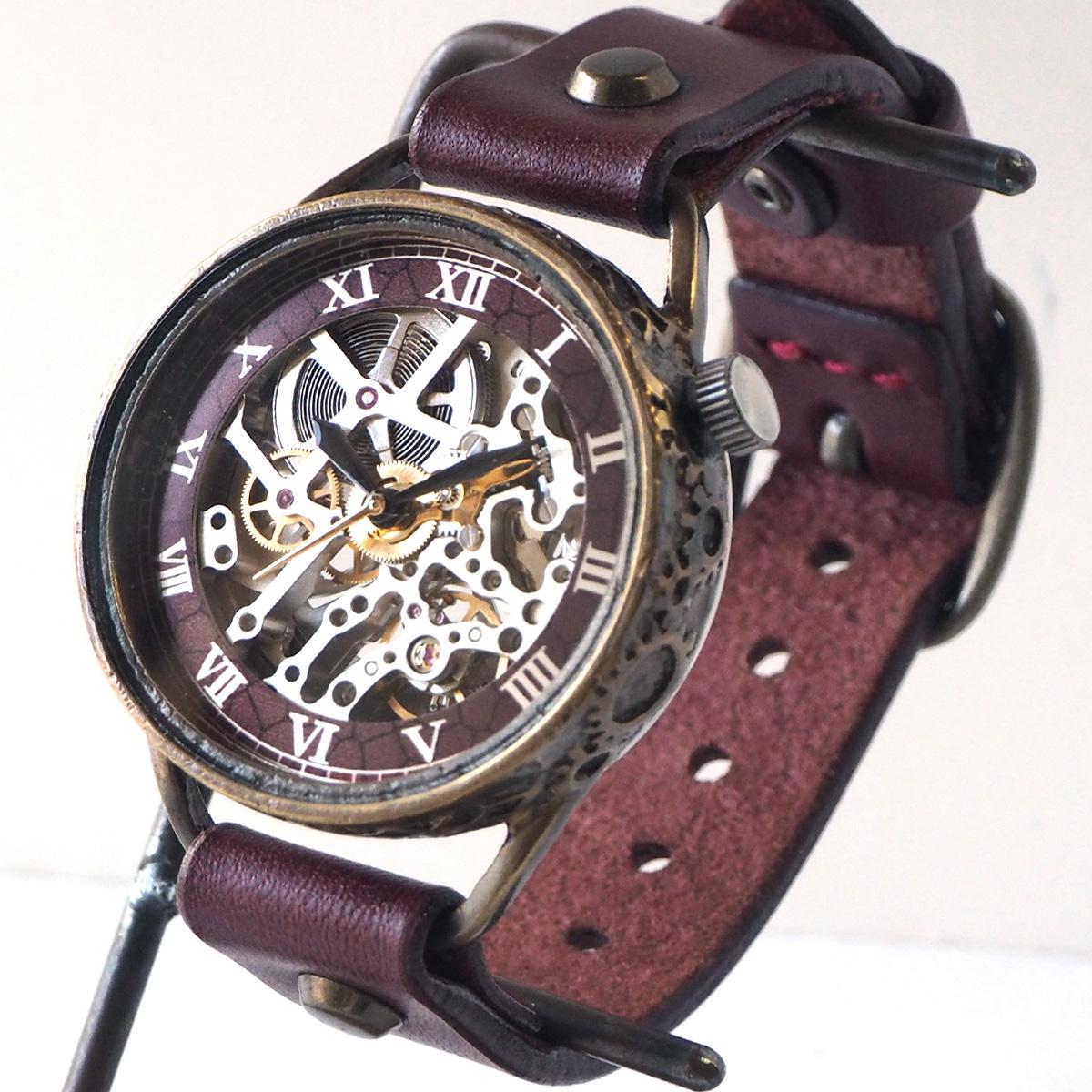 KINO(キノ) 手作り腕時計 自動巻き 裏スケルトン メカニックシルバー ワインブラウン [K-15-MSV-WI]