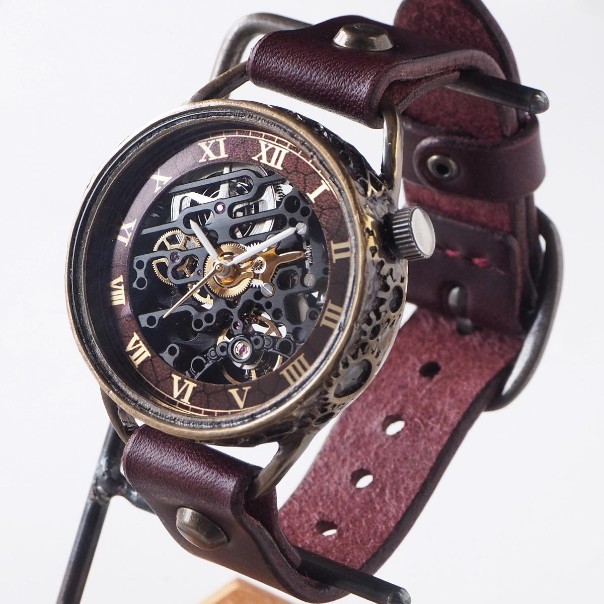KINO(キノ) 手作り腕時計 自動巻き 裏スケルトン メカニックブラック ワインブラウン [K-15-WINE]