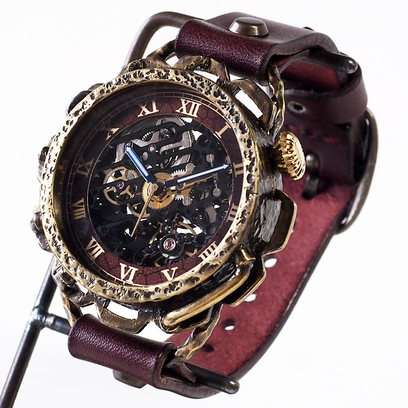 KINO(キノ) 手作り腕時計 自動巻き 裏スケルトン キノパンクブラック 真鍮 ワインブラウン [K-18-BR-WI]