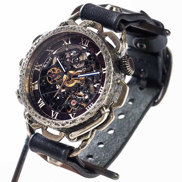 KINO(キノ) 手作り腕時計 自動巻き 裏スケルトン キノパンクブラック シルバー ブラック [K-18-SV-BK]