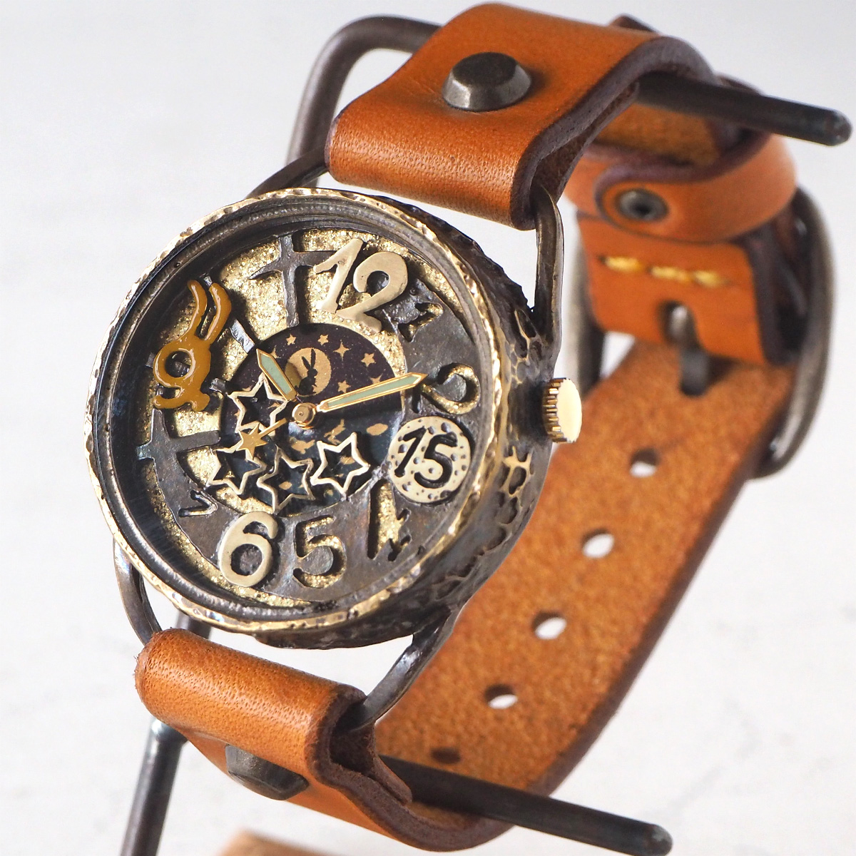 KINO(キノ) 手作り腕時計 うさぴょん SUN&MOON [USAPYON]