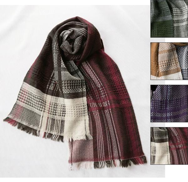 kobooriza−工房織座− 工房織座 ウール100% かわり織りマフラー メンズ・レディース [K-MF-KO01]