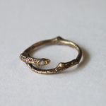 Lano(ラノ) 手作りアクセサリー 枝 ピンキーリング ダイヤモンド×真鍮古美 [LN-1141]