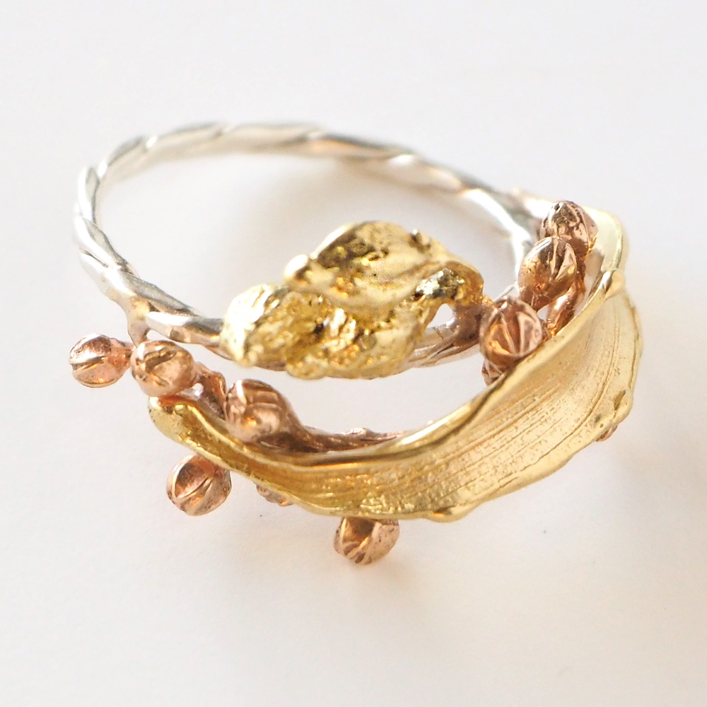 Lano(ラノ) 手作りアクセサリー 銅×真鍮×シルバー ボヌール リング [LN-1234]