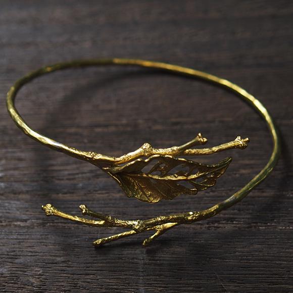 Lano(ラノ) 手作りアクセサリー リーフバングル 真鍮[ln-3071]