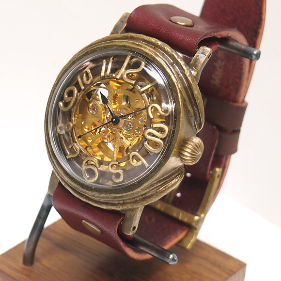 "Mari Goto(マリゴトー) 手作り機械式腕時計 裏スケルトン""space -スペース""-[MGM-01]"