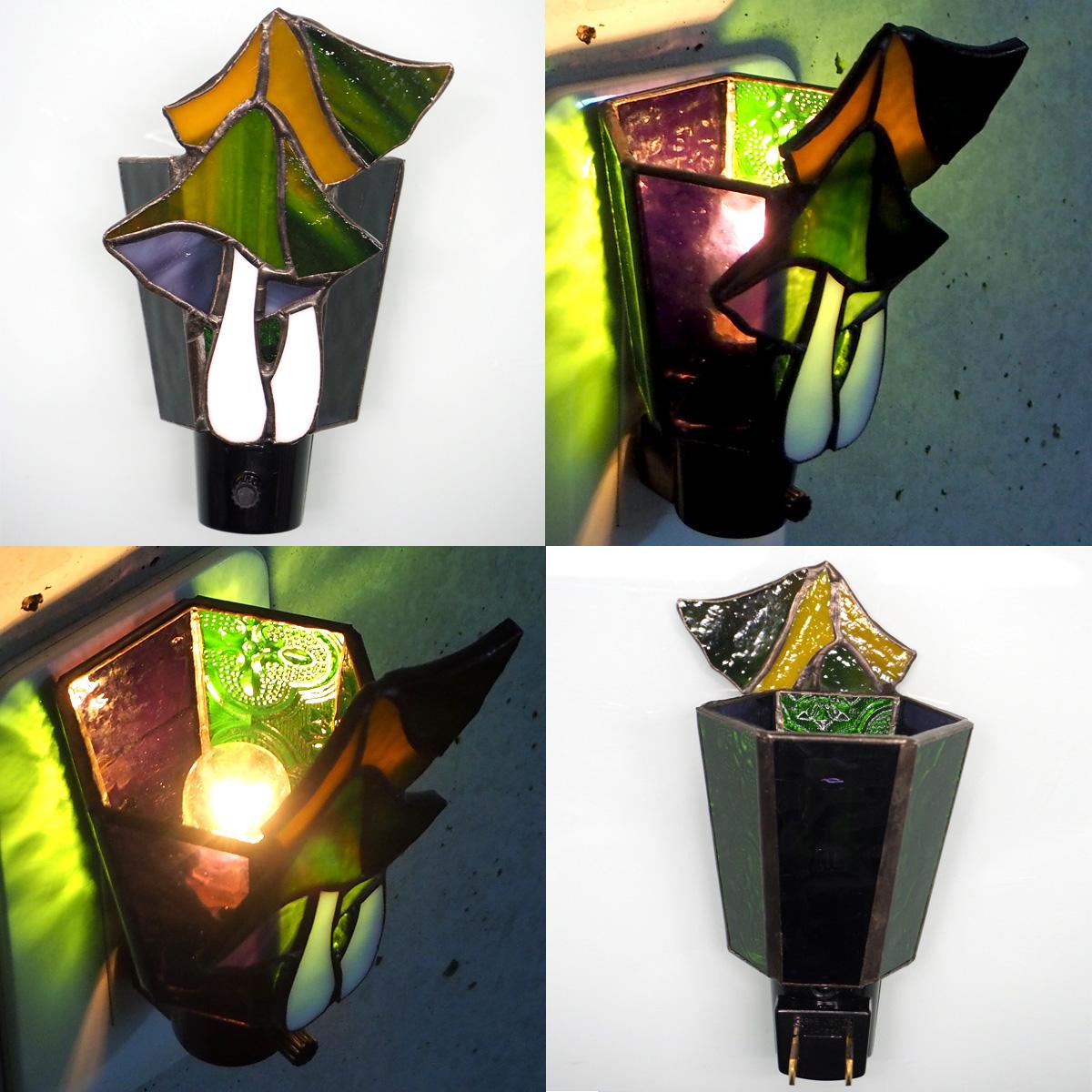 matilde (マチルダ) ステンドグラス照明 コンセント直結ライト きのこ グリーン