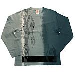 繭−mayu− 京友禅和柄Tシャツ 長袖 銀鼠色 絞り染め 流水文 メンズ・レディース [MY-TL3B-RS001]