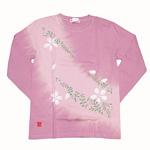 繭−mayu− 京友禅和柄Tシャツ 長袖 薄牡丹色 絞り染め 桜とはるかぜ メンズ・レディース [MY-TL4B-SK001]