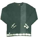 繭−mayu− 京友禅和柄Tシャツ 長袖 絞り&麻の葉文 千歳緑 メンズ・レディース [MY-TL5A-AS001]
