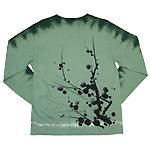 繭−mayu− 京友禅和柄Tシャツ 長袖 千歳緑色  絞り染め 枝梅文 メンズ・レディース [MY-TL5A-UM001]