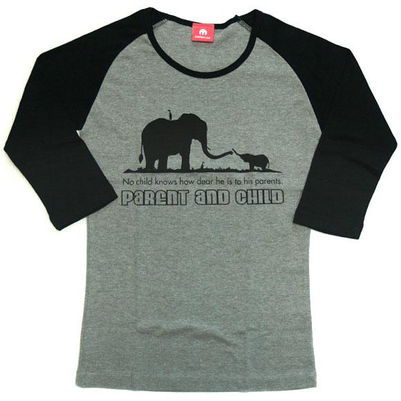 "mellow out デザインTシャツ ""Parent and Child""<br>七部袖 グレー×ブラック レディース [MO-LTEE-004]"