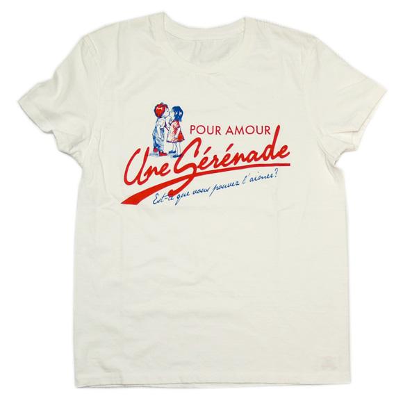 "mellow out デザインTシャツ ""AMOUR""(アムール)半袖 ホワイト メンズ・レディース [MO-SS-022WH]"
