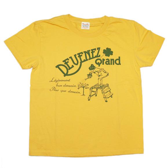 "mellow out デザインTシャツ ""Arroser""(アロゼ)半袖 イエロー メンズ・レディース <br>[MO-SS-025BA]"