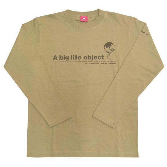 "mellow out デザインTシャツ ""A big life object""長袖 キャメル メンズ・レディース [MO-LTEE-001]"
