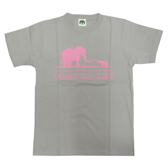 """mellow out デザインTシャツ """"mellow out デザインTシャツ """"Parent and Child"""" 半袖 グレー<br> レディース [MO-TEE-007]"""