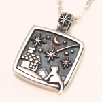 moge(モゲ) 手作りシルバーアクセサリー 流れ星の夜 —ネコ— シルバーネックレス [mo-N-030]