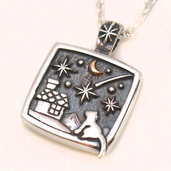 moge(モゲ)手作りシルバーアクセサリー 流れ星の夜 —ネコ— シルバーネックレス [mo-N-030]