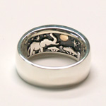 moge(モゲ) 手作りシルバーアクセサリー 同じ月を見てた—アフリカゾウ— シルバーリング 10mm [mo-R-035]