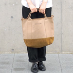 【丸洗いOK】MOUNTAIN DA CHERRY (マウンテン ダ チェリー) 4号カラー帆布キャンバス×ピッグスエード マルチトートバッグ S ベージュ×カーキ [MDC-MTS-COL]
