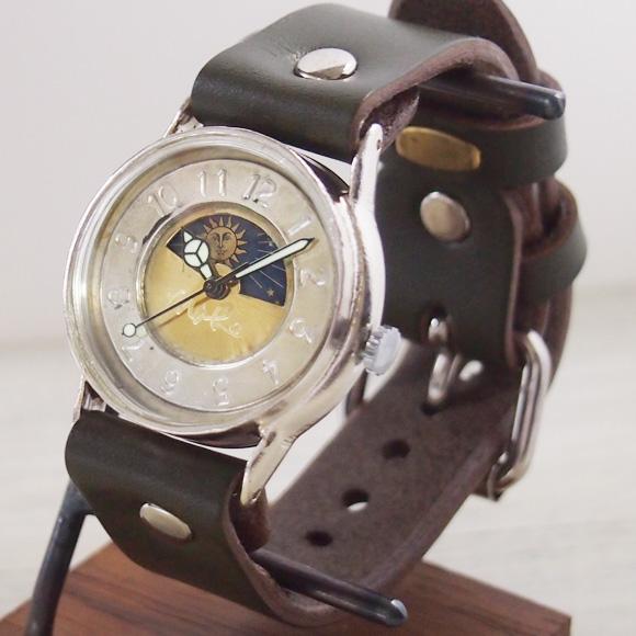 """渡辺工房 手作り腕時計 """"S-WATCH2-S-SUN&MOON"""" メンズシルバー [NW-207SV-SM]"""