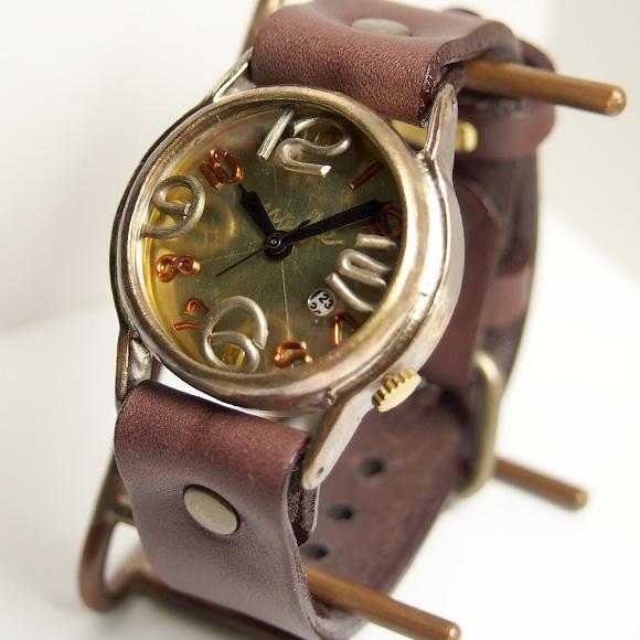"""渡辺工房 手作り腕時計""""On Time-B""""デイト付き メンズブラス [NW-214B-DATE]"""
