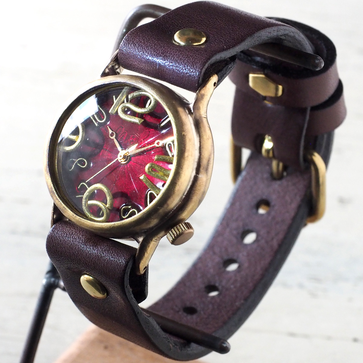 """渡辺工房 手作り腕時計 """"On Time-B"""" クリアレッド文字盤 [NW-214B-RD]"""