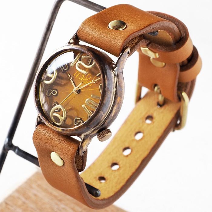 """渡辺工房 手作り腕時計 """"On Time-B"""" クリアイエロー文字盤 [nw-214b-YE]"""