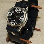"""渡辺工房 手作り腕時計""""On Time-SV""""メンズシルバー ブラック文字盤 [NW-214BSV-BK]"""