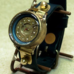 """渡辺工房 手作り腕時計""""AMENBO-Jr.2""""ネイビー メンズブラス [NW-242B-NV]"""
