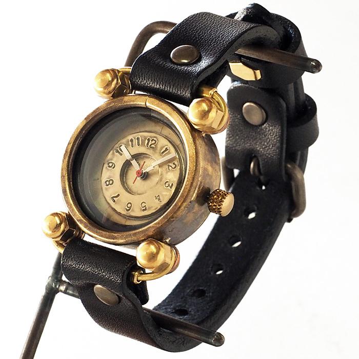"""渡辺工房 手作り腕時計 """"FROG-Jr"""" メンズブラス ブラックチューブ [NW-288]"""