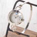 """渡辺工房 手作り腕時計  """"Silver Armlet 3"""" レディースシルバー  12時スワロフスキー [NW-289MSV]"""