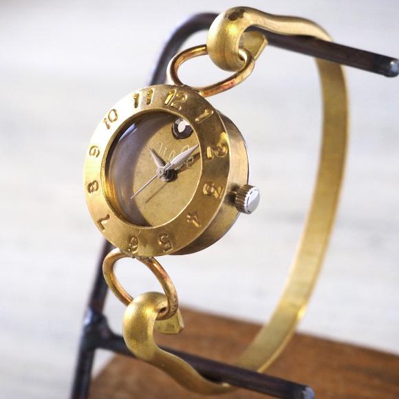 """渡辺工房 手作り腕時計 """"Brass Armlet 3"""" レディースブラス 12時スワロフスキー [NW-289MSW]"""
