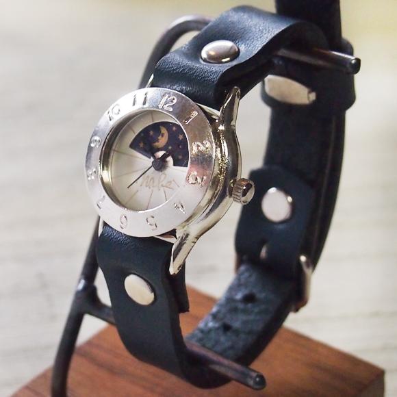 """渡辺工房 手作り腕時計 """"StrapLady-S-SUN&MOON""""レディースシルバー [NW-289SV-SM]"""