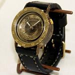 """渡辺工房 手作り腕時計 BEEFY3-B""""メンズブラス 手縫いベルト [NW-339]"""