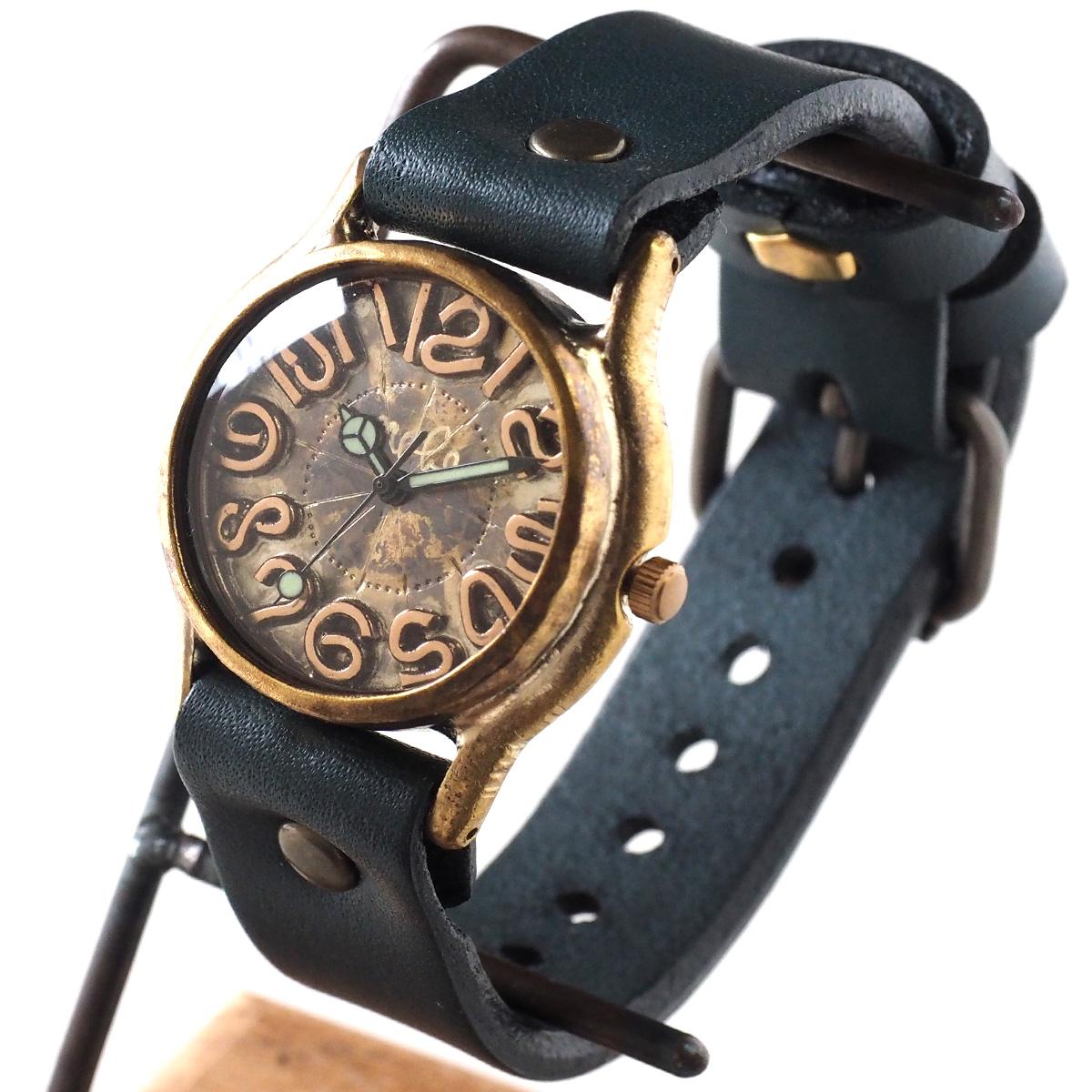 """渡辺工房 手作り腕時計 """"Plain-BC"""" 銅インデックス メンズブラス [NW-352C]"""
