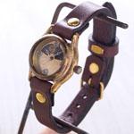 渡辺工房 手作り腕時計 レディース真鍮 シルバー数字 SUN&MOON [NW-362SM]