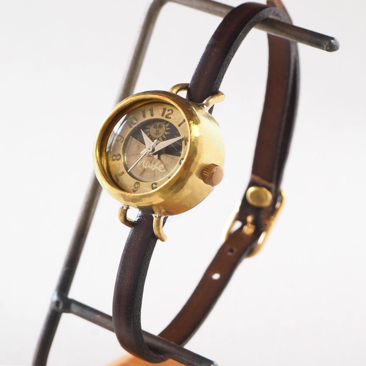 """渡辺工房 手作り腕時計 """"Lady's Brass"""" レディースブラス SUN&MOON 4.5mm ブラウン レザーベルト [NW-365SM]"""