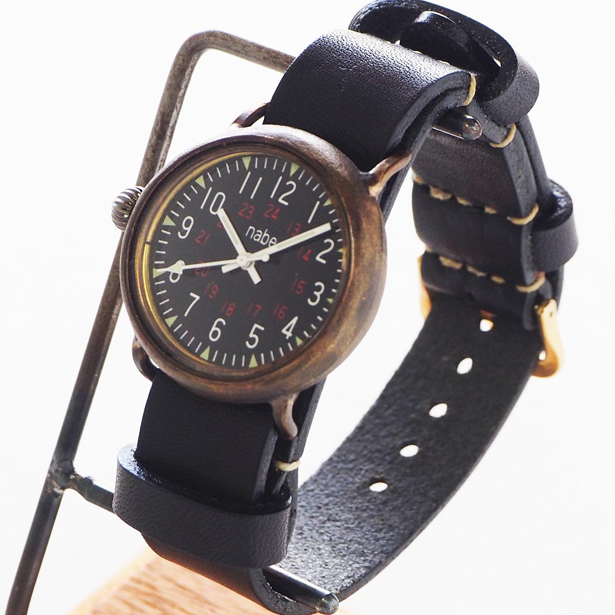 渡辺工房 手作り腕時計 Armor-MB-ML 黒文字盤 ミリタリーウォッチ NATOベルト [NW-370]