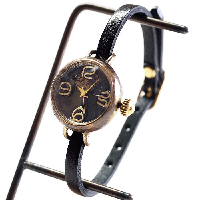 """渡辺工房 手作り腕時計 """"Ladybug-B-S&M"""" 黒文字盤 レディースブラス SUN&MOON [NW-375SM-BK]"""