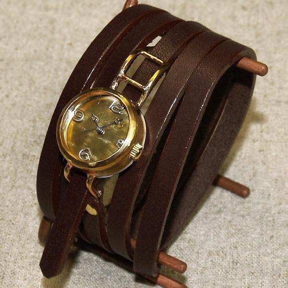 """渡辺工房 手作り腕時計<br> """"Coil1-B""""5重巻きベルト レディースブラス [NW-45A]"""