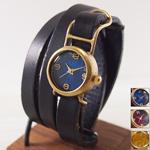 """【文字盤カラー3色より】渡辺工房 手作り腕時計 """"Coil2-B""""3重巻きベルト レディースブラス [NW-45B]"""