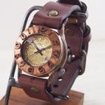 """渡辺工房 手作り腕時計 """"Index1-B-DATE""""デイト付き 立体銅ベゼル メンズブラス [NW-64B-DATE]"""