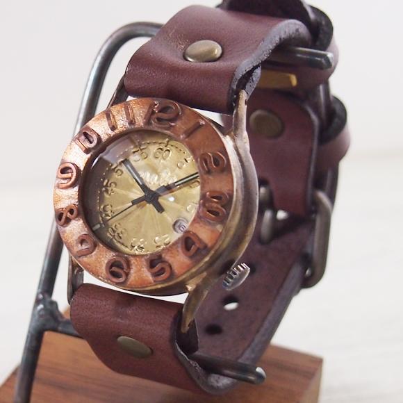 """渡辺工房 手作り腕時計 """"Index1-B-DATE"""" メンズブラス [NW-64B-DATE]"""