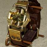 """渡辺工房 手作り腕時計 """"CROSS""""メンズブラス [NW-95]"""